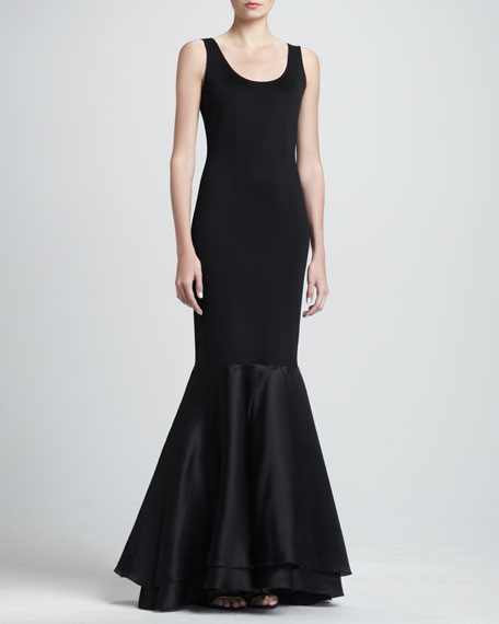 Sateen Milano Knit Scoop Neck Gown with Satin Faced Organza Flounce Hem, Caviar
