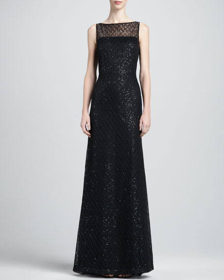 Gossamer-Lined Lace Gown, Caviar