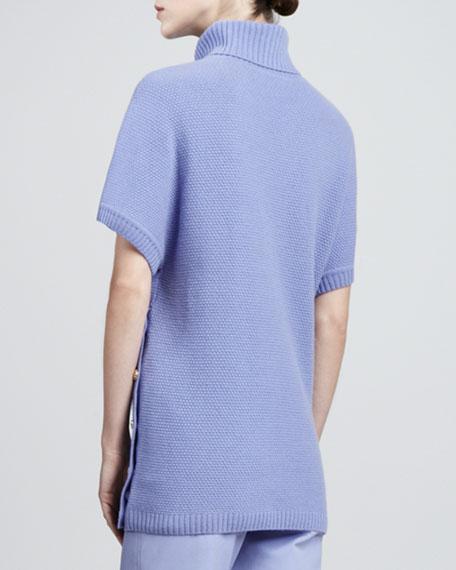 Basketweave Cashmere Blend Short-Sleeve Sweater, Periwinkle