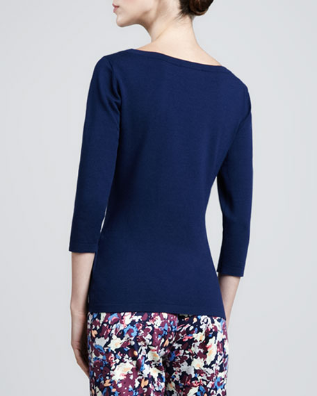 Stretch 3/4-Sleeve Sweater, Marine