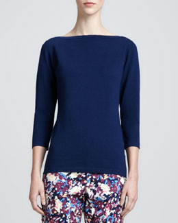 St. John Stretch 3/4-Sleeve Sweater, Marine