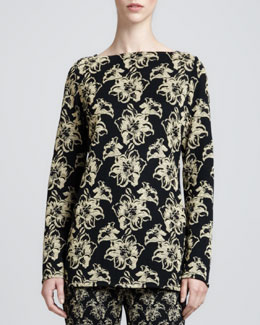 St. John Collection Milano Shimmer Lily Jacquard Tunic, Caviar/Gold