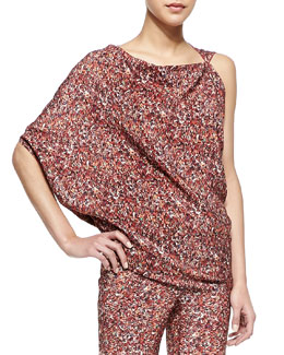 Bottega Veneta Printed Silk Georgette Asymmetric Top