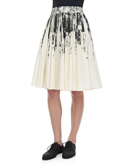 Pleated Printed Cotton Skirt, White/Black