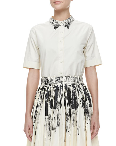 Short-Sleeve Button-Up Shirt, White/Black