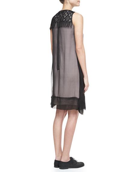 Embroidered Fringe Dress, Black/Multi