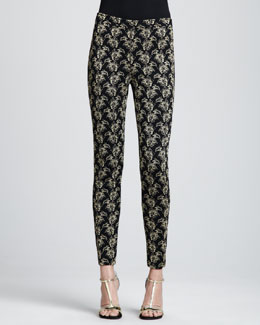 St. John Collection Jacquard Ankle Pants, Caviar/Gold