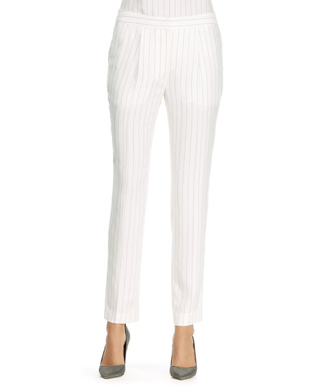 Pinstriped Trousers, Ivory/Black
