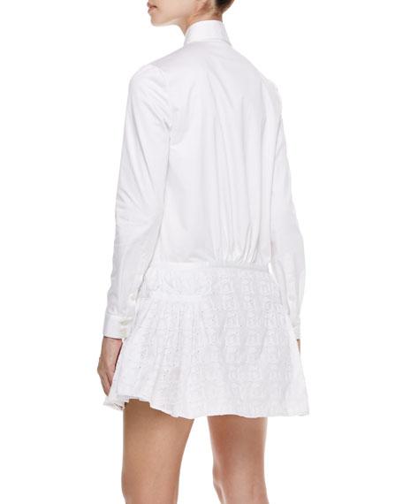 Eyelet-Peplum Shirtdress