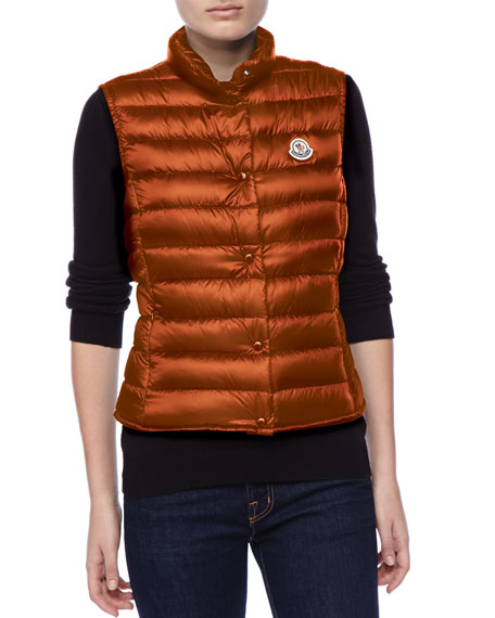 Puffer Vest with Sheen, Orange