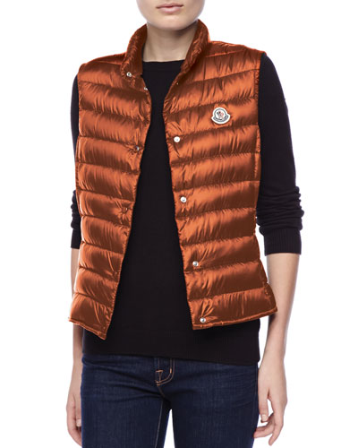 Moncler Puffer Vest with Sheen, Orange