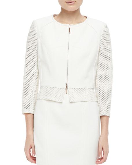 Perforated Zip-Front Jacket, Ecru