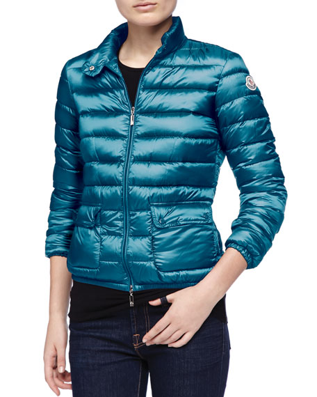 Zip-Up Puffer Jacket, Turquoise