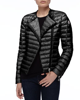 Moncler Asymmetric-Zip Puffer Jacket, Black