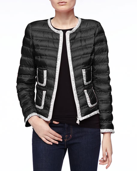 Contrast-Trim Zip Puffer Jacket, Black/White