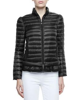 Moncler Peplum Puffer Jacket, Black