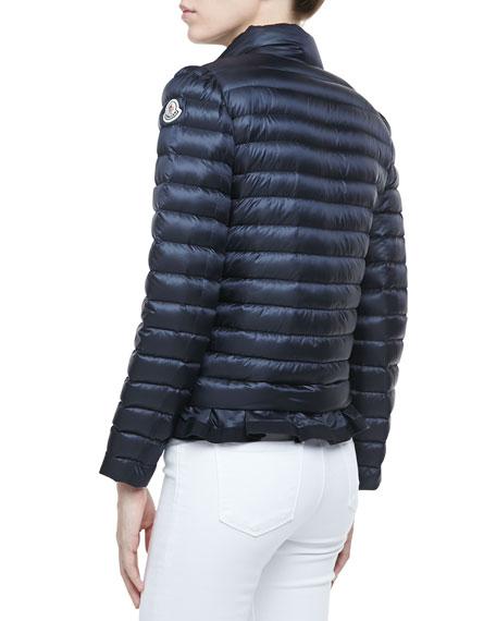 Peplum Puffer Jacket, Navy