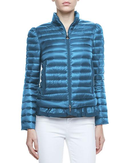 Peplum Puffer Jacket, Turquoise