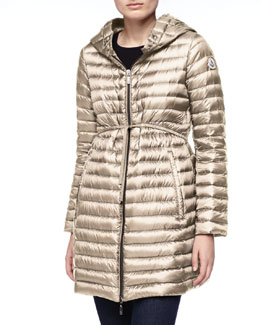 Moncler Long Puffer Drawstring Coat, Stone