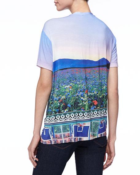 Floral Fluorescent T-Shirt, Multicolor