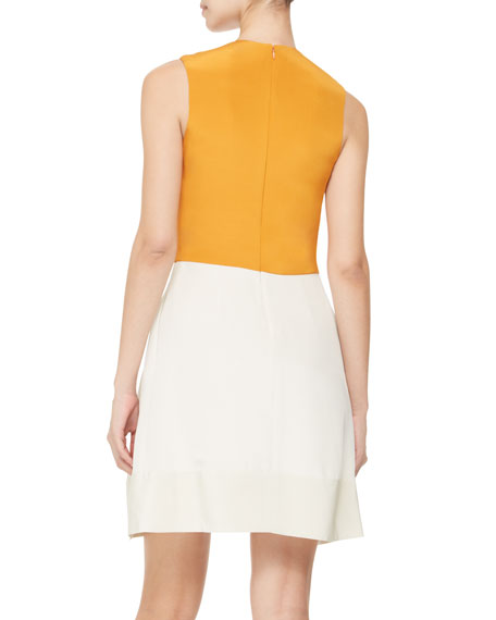 Colorblocked Silk Dress, Bone