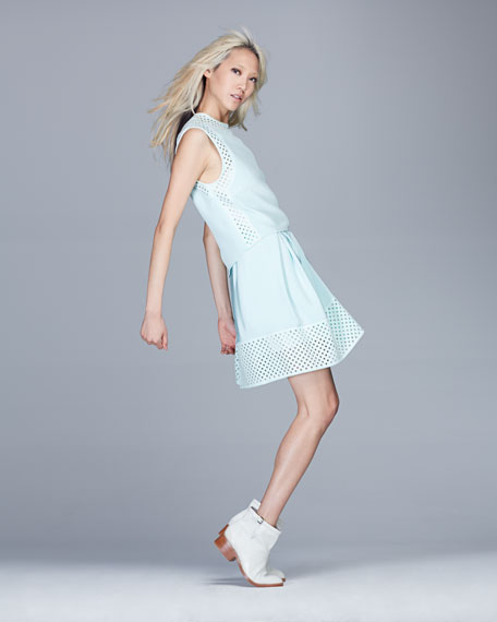 Sleeveless Laser-Cut Polka Dot Dress, Pale Aqua