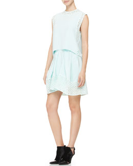 3.1 Phillip Lim Sleeveless Laser-Cut Polka Dot Dress, Pale Aqua