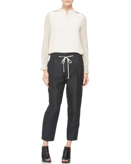 Pleated Peg Pants with Drawstring, Black/Oatmeal