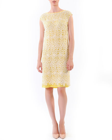 Lace-Overlay Sheath Dress, Yellow/White
