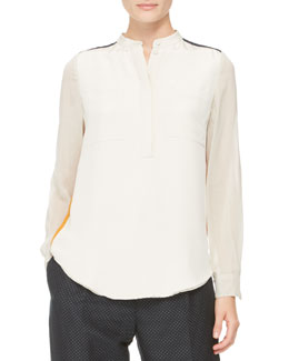 3.1 Phillip Lim Contrast Silk Blouse, Bone