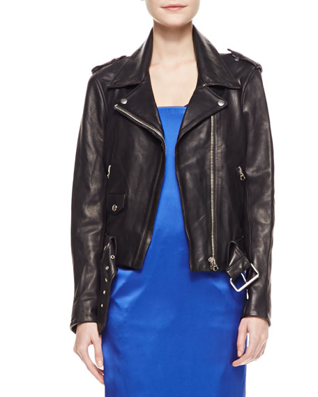 Long-Sleeve Leather Moto Jacket, Black