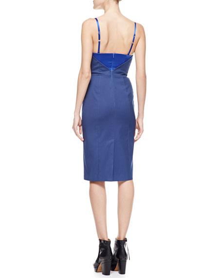 Spaghetti-Strap Satin Dress, Blue