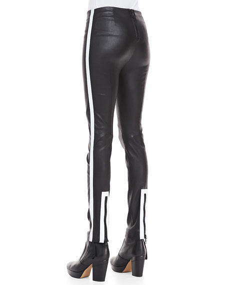 Skinny Leather Scuba Pants, Black/White
