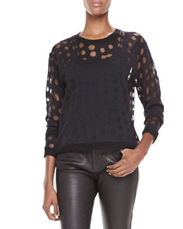Acne Studios Dot-Cutout Sweater, Black