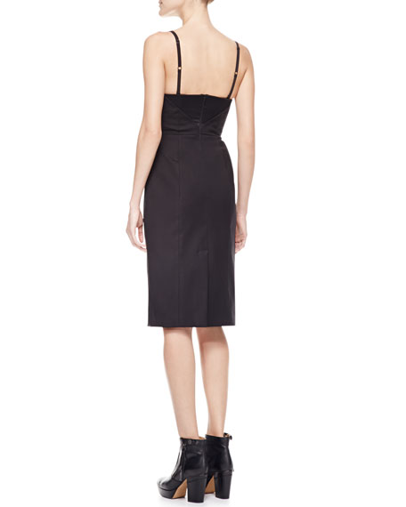 Spaghetti-Strap Satin Dress, Black