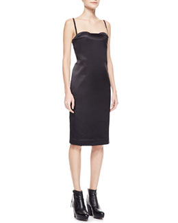 Acne Studios Spaghetti-Strap Satin Dress, Black