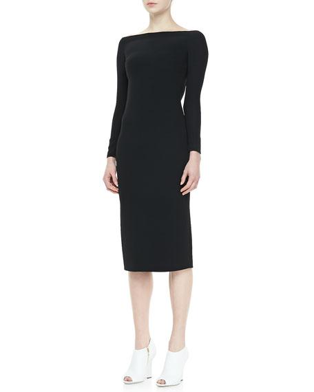 Long-Sleeve Cutout-Back Dress, Black