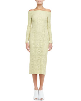 Burberry Prorsum Off-Shoulder Lace Evening Dress