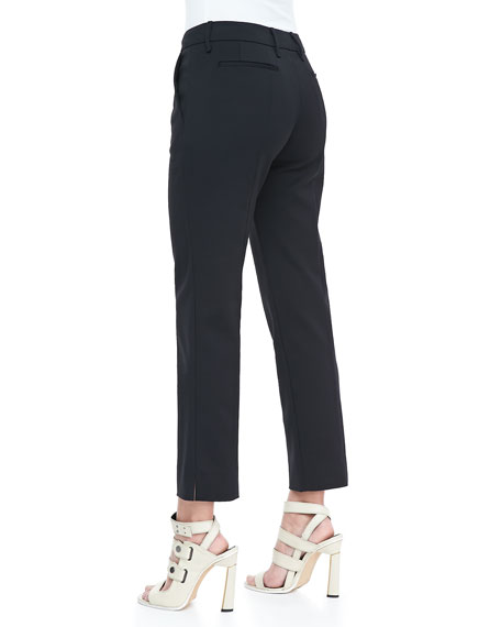 Cropped Crepe Trousers, Black