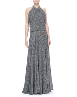 Derek Lam Gathered Silk Chiffon Gown, Black/White