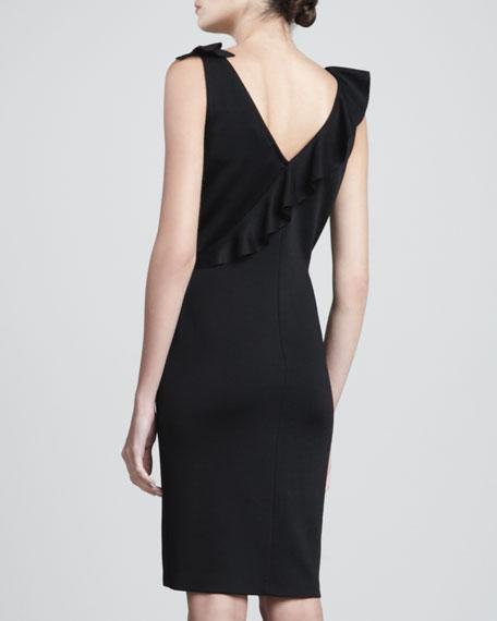 Sateen Milano Knit V-Neck Dress with Knit Ruffle & Front Slit