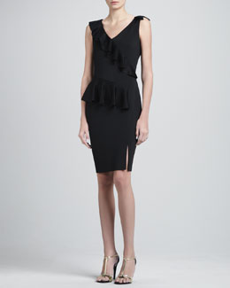 St. John Collection Sateen Milano Knit V-Neck Dress with Knit Ruffle & Front Slit
