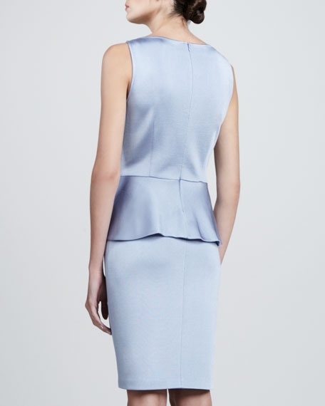 Sateen Milano Knit Bateau Neck Dress with Peplum, Periwinkle
