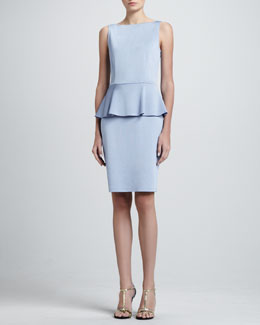 St. John Collection Sateen Milano Knit Bateau Neck Dress with Peplum, Periwinkle