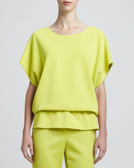 Short-Poncho-Sleeve Blouse, Chartreuse