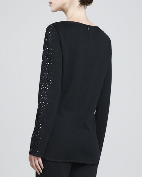 Milano Long-Sleeve Boat-Neck Blouse, Caviar