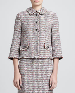 St. John Collection Glitter Eyelash Stripe Tweed Collarless Jacket, Caviar/Multi