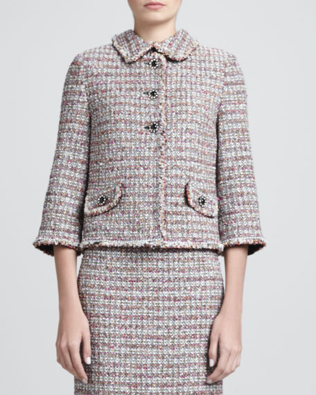 Glitter Eyelash Stripe Tweed Collarless Jacket, Caviar/Multi