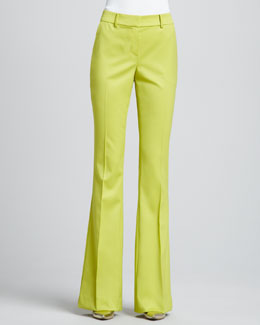 St. John Collection Boot-Cut Trouser Pants, Chartreuse