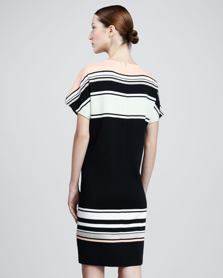 Color Block Stripe Matte & Sateen Milano Knit Bateau Neck Cap Sleeve Shift Dress